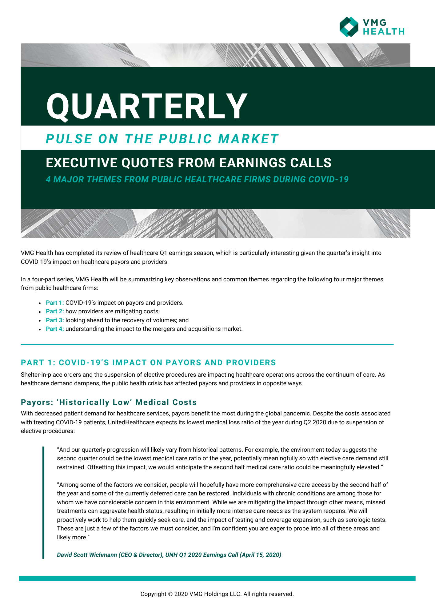 Executive Quotes from Earnings Calls: 4 Major Themes from Public Healthcare Firms During COVID-19